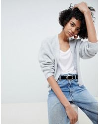 ASOS - Design Eco Cropped Cardigan In Fluffy Yarn With Buttons - Lyst