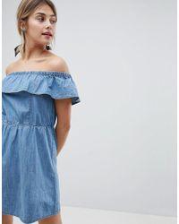 Miss Selfridge - Frill Bardot Denim Dress - Lyst