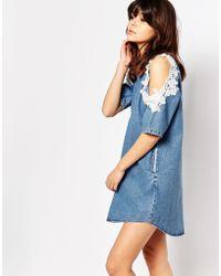 I Love Friday - Denim Shift Dress With Lace Trim Cold Shoulder - Lyst