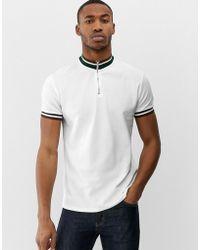 Bershka - T-shirt In Cream With High Neck Striped Collar - Lyst