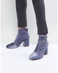 Stradivarius - Stadivarius Block Heel Embellished Sock Boot - Lyst
