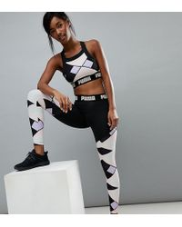9f3d87b7126c1 PUMA Exclusive To Asos Panel Mesh Leggings In Pink And Green in Red ...