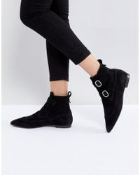 AllSaints - Pointed Buckle Detail Boots In Suede - Lyst