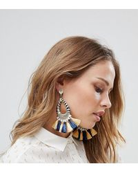 Glamorous - Navy & Yellow Tassel Statement Earrings (+) - Lyst