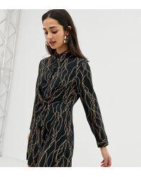 268274da4ac92 Bershka Floral Lace Insert Slip Dress in Black - Lyst