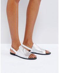 Vero Moda | Metallic Leather Ankle Strap Sandals | Lyst