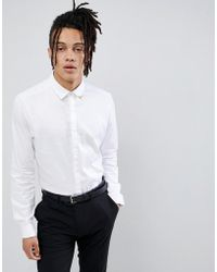 ASOS DESIGN - Slim Fit Sateen Shirt With Western Tipping In White - Lyst