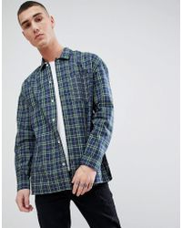 Mango - Man Patchwork Check Shirt In Navy - Lyst