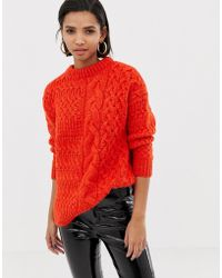 Mango - Cable Oversized Sweater In Orange - Lyst