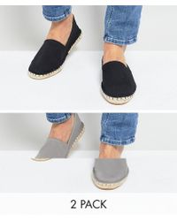 ASOS - Canvas Espadrilles In Black And Gray 2 Pack Save - Lyst