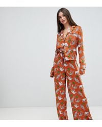 ASOS - Asos Design Tall Safari Animal Pyjama Shirt And Wide Leg Set 100% Modal - Lyst
