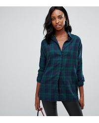 Missguided - Exclusive Tall Oversized Boyfriend Shirt In Check - Lyst