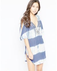 Liquorish - Tie Dye Beach Tunic Top With Cold Shoulder - Blue - Lyst