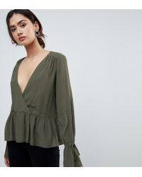 ASOS - Asos Design Tall Oversized Wrap Blouse With Dip Hem - Lyst
