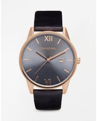 Unknown - Blue Leather Strap Watch With Rose Gold Detail - Lyst
