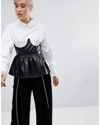 Lost Ink - Shirt With Tie Sleeves And Faux Leather Corset Peplum - Lyst