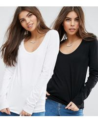 ASOS - T-shirt With Long Sleeve And Scoop Neck 2 Pack Save 10% - Lyst