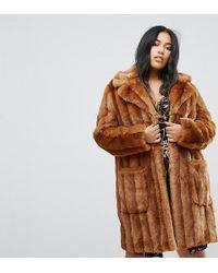 ASOS - Midi Coat In Pelted Faux Fur - Lyst