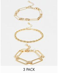 ASOS - Pack Of 3 Bracelets In Mixed Link Chains In Gold Tone - Lyst