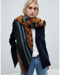 Pieces - Animal Print Scarf - Lyst