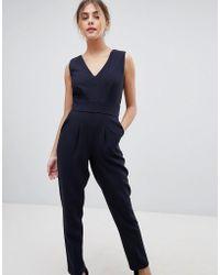 Closet - Wrap Front Tailored Jumpsuit - Lyst