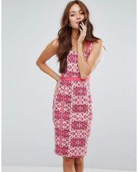 Vesper - Belted Pencil Dress In Floral Print - Lyst