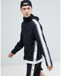 ASOS - Windbreaker With Side Stripe In Black - Lyst