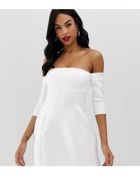 91829a596d1 ASOS One Shoulder Bow Trapeze Mini Dress in White - Lyst