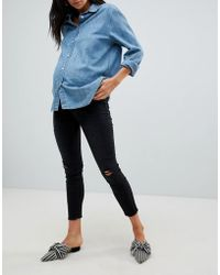 New Look - Maternity Ripped Washed Jeans - Lyst
