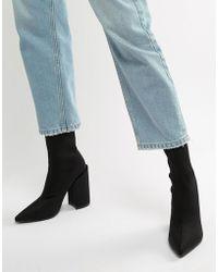Public Desire - Salt Black Block Heel Sock Boots - Lyst