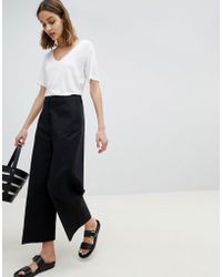 SELECTED - Wide Leg Cropped Pant - Lyst