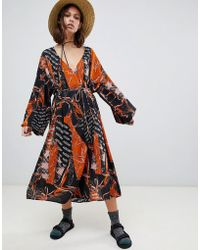 Weekday - V Neck Midaxi Smock Dress In Mixed Print - Lyst