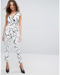 Lavish Alice - Tailored Jumpsuit In Abstract Print - Lyst