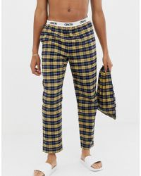 ASOS - Woven Straight Pyjama Bottoms In Mustard & Navy Brushed Check With Gift Bag - Lyst