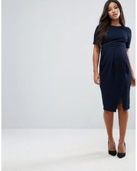 249bbbebcc Lyst - Asos Bow Front Off The Shoulder Bardot Skater Mini Dress in Blue