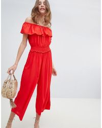 Miss Selfridge - Shirred Waist Culotte Jumpsuit - Lyst