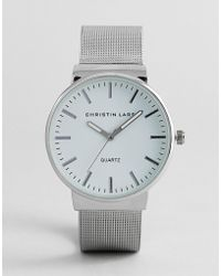 Christin Lars - Silver Watch With Round Dial With White Dial - Lyst