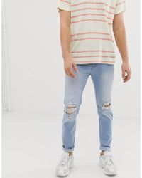 Hollister - Destroyed Skinny Fit Jeans In Light Destroy - Lyst