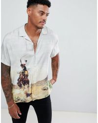 ASOS - Design Oversized Rodeo Placement Print Shirt With Revere Collar - Lyst