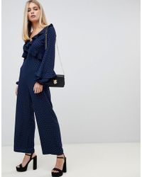 Fashion Union - Jumpsuit With Tie Open Back - Lyst