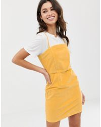 ASOS - Cord Dress With Skinny Straps In Mustard - Lyst