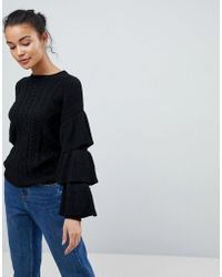 7bf2b320470664 Fashion Union - Cable Knit Jumper With Frill Sleeves - Lyst