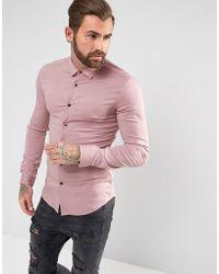 ASOS - Skinny Viscose Shirt In Dusty Rose - Lyst