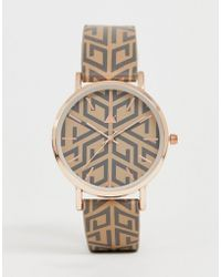 ASOS Watch With Monogram Print And Gold Tone Case - Brown