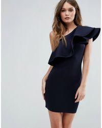 Club L - One Shoulder Ruffle Structure Detail Dress - Lyst