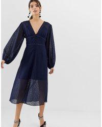 2600296c2e4f Keepsake - Trouble Lace Midi Dress With Volume Sleeve - Lyst