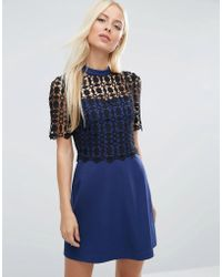 ASOS - Premium Structured A-line Dress With Lace Top - Lyst