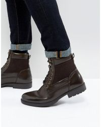 ASOS - Lace Up Boots In Brown Faux Leather - Lyst
