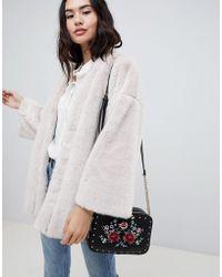 ASOS - Reversible Faux Fur Cape With Floral Print - Lyst