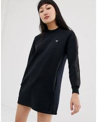 Fred Perry - High Neck Sweatshirt Dress With Satin Tape Sleeve - Lyst
